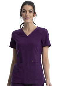 Cherokee V-Neck Knit Panel Top Eggplant (CK605-EGG)