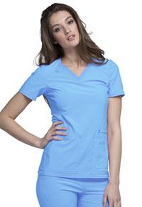 Cherokee V-Neck Knit Panel Top Glacier Blue (CK605-GLBU)