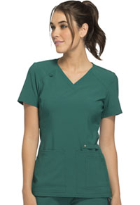 Cherokee V-Neck Knit Panel Top Hunter Green (CK605-HUN)