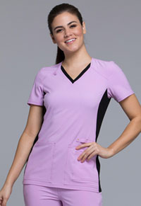 Cherokee V-Neck Knit Panel Top Lilac Love with Black Contrast (CK605-LIBK)