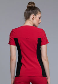 Cherokee V-Neck Knit Panel Top Red (CK605-REBK)