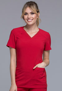 Cherokee V-Neck Knit Panel Top Red (CK605-RED)