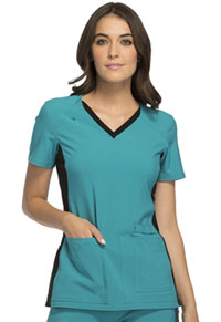 Cherokee V-Neck Knit Panel Top Teal Blue with Black Contrast (CK605-TEBK)