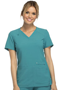 Cherokee V-Neck Knit Panel Top Teal Blue (CK605-TLB)