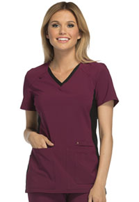 Cherokee V-Neck Knit Panel Top Wine with Black Contrast (CK605-WBBK)