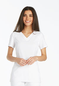 Cherokee V-Neck Knit Panel Top White (CK605-WHT)