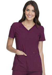 Cherokee V-Neck Knit Panel Top Wine (CK605-WIN)