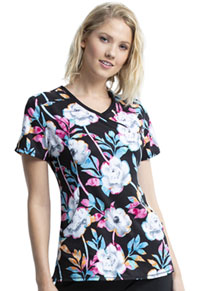 Cherokee Mock Wrap Top Colorful Blooms (CK608-CLFU)