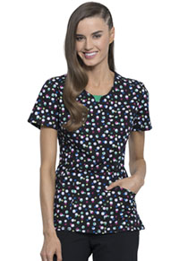 Cherokee Round Neck Top Doodle Polka Dots (CK609-DDPD)