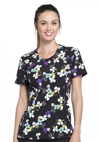 Cherokee Round Neck Top Dot My Flower (CK609-DTFW)