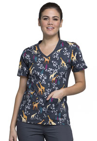 Cherokee V-Neck Knit Panel Top Geo Giraffes (CK611-GOGF)