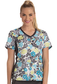 Cherokee V-Neck Knit Panel Top Power to The Flower (CK611-POWF)