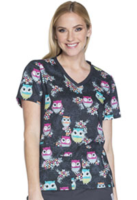 Cherokee V-Neck Knit Panel Top Too Cute To Hoot (CK611-TCTE)