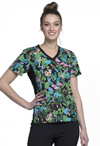 Cherokee V-Neck Knit Panel Top Tropical Tango (CK611-TRTG)