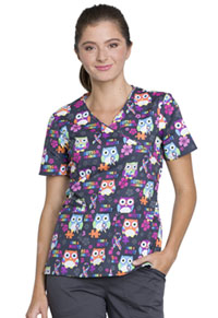 Cherokee Mock Wrap Top Autism Awareness Owls (CK614-AUAW)