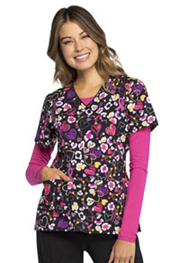 Cherokee Mock Wrap Top Doodle You Care (CK614-DDCA)