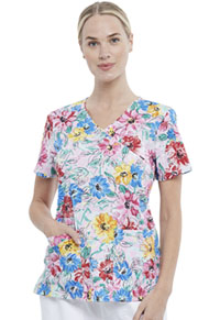 Cherokee Mock Wrap Top Watercolor Blossoms (CK614-WABS)