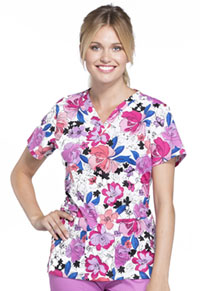Cherokee V-Neck Top Berry Blossoms (CK616-BBSS)