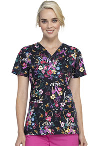 Cherokee V-Neck Top Bouquets Of Hope (CK616-BQOH)