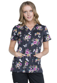 Cherokee V-Neck Top Butterflies And Blossoms (CK616-BUTE)