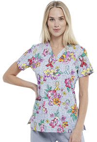 Cherokee V-Neck Top Friendly Flowers (CK616-FFOW)