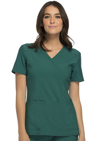 Cherokee Mock Wrap Knit Panel Top Hunter Green (CK619-HUN)