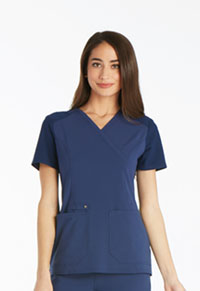 Cherokee Mock Wrap Knit Panel Top Navy (CK619-NAV)