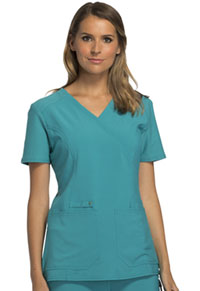 Cherokee Mock Wrap Knit Panel Top Teal Blue (CK619-TLB)
