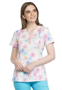 0a7637559b8 Cherokee Mock Wrap Top Floral Stitches CK620-FSTT