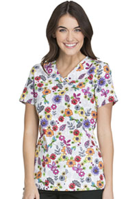 Cherokee V-Neck Top Float Away Flowers (CK621-FAWA)