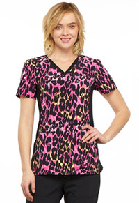 Cherokee V-Neck Knit Panel Top Exotic Purr-spective (CK625-EXPU)