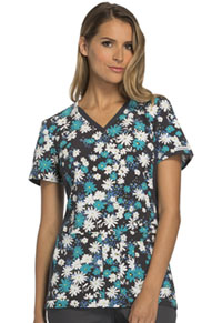 Cherokee V-Neck Knit Panel Top Petal May Care (CK625-PTCR)