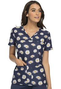Cherokee V-Neck Knit Panel Top Fleur Promenade (CK628-FLPM)