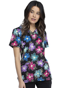 Cherokee V-Neck Print Top Digital Daisy (CK634-DGTY)