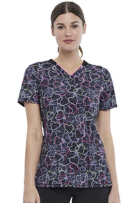 Cherokee V-Neck Print Top Marbled Hearts (CK634-MBLH)