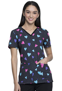 Cherokee V-Neck Knit Panel Top Beating Hearts (CK636-BTHT)