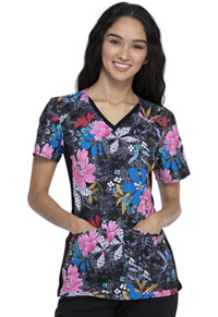 Cherokee V-Neck Knit Panel Top Wild About Flowers (CK636-WIAF)