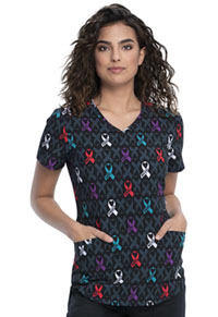 Cherokee V-Neck Top Awareness For All (CK637-AWLL)