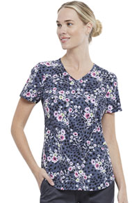 Cherokee V-Neck Top Cheetah Floral (CK637-CAHF)