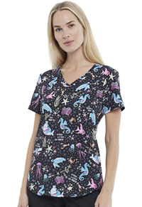 Cherokee V-Neck Print Top May I Kelp You? (CK637-MEKL)
