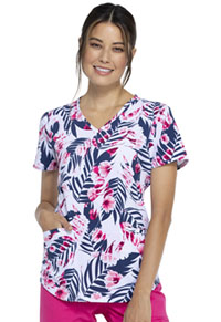 Cherokee V-Neck Top Palms And Posies (CK637-PAAN)