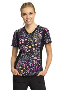 Cherokee V-Neck Knit Panel Top Flower Hour (CK641-FHOU)
