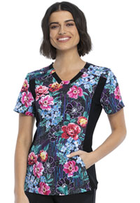 Cherokee V-Neck Knit Panel Top Flower Tech (CK641-FWTC)