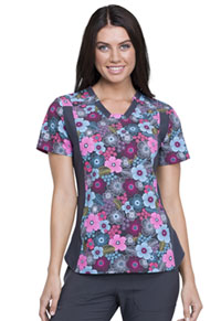 Cherokee V-Neck Knit Panel Top Glorious Garden (CK641-GLOR)