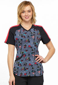Cherokee V-Neck Top Marked Hearts (CK645-MRHT)