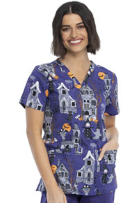 Cherokee V-Neck Top Haunted Halloween (CK651-HAUH)
