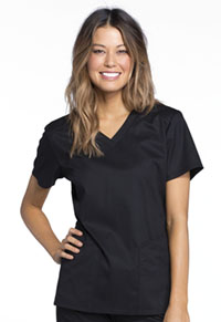 Cherokee V-Neck Top Black (CK670-BLKV)