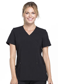 Cherokee Mock Wrap Knit Panel Top Black (CK680-BLK)