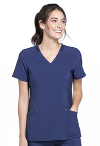 Cherokee Mock Wrap Knit Panel Top Navy (CK680-NAV)