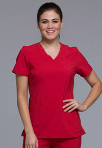 Cherokee Mock Wrap Knit Panel Top Red (CK680-RED)